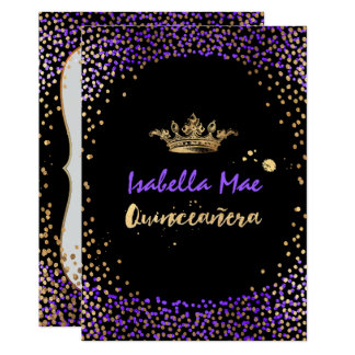 Quinceanera/Confetti/Neon Purple/Princess/Crown Card