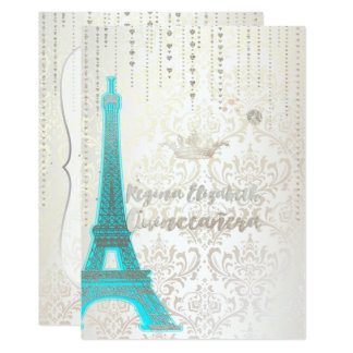 Quinceanera/Eiffel/Tiffany Blue/Princess/Crown Card