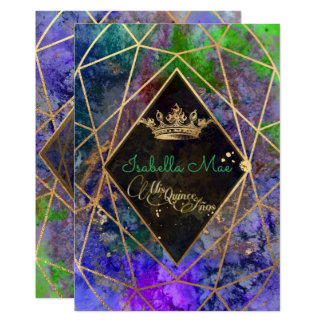 Quinceanera/Galaxy/Neon Purple/Princess/Crown Card