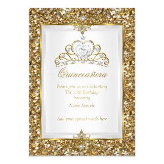 Quinceanera Gold Glitter White Pearl Tiara 2 13 Cm X 18 Cm Invitation Card