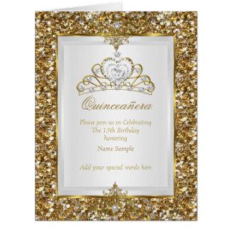 Quinceanera Gold Glitter White Pearl Tiara Photo Big Greeting Card