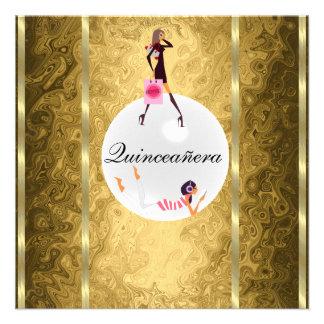 quinceañera Gold Invitation
