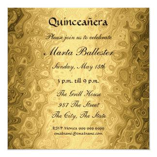 """quinceañera Gold Invitation 5.25"""" Square Invitation Card"""