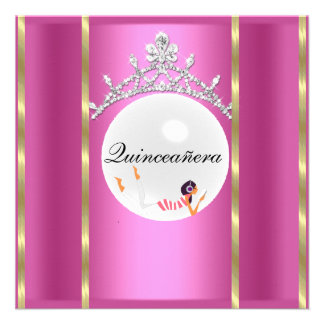 quinceañera Hot Pink and Tiara Invitation