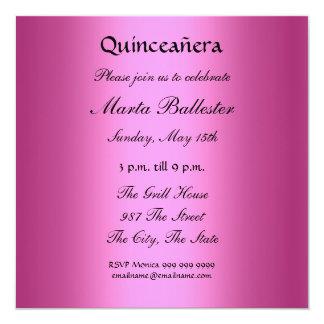 """quinceañera Hot Pink and Tiara Invitation 5.25"""" Square Invitation Card"""