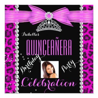 Quinceanera Leopard Pink Photo Birthday Party 13 Cm X 13 Cm Square Invitation Card