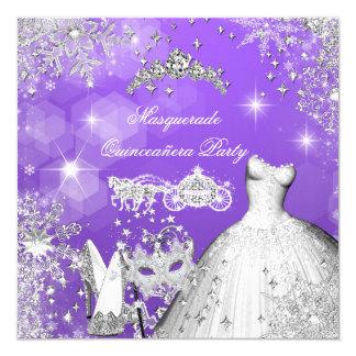 Quinceanera Masquerade Magical Princess Carriage 2 13 Cm X 13 Cm Square Invitation Card