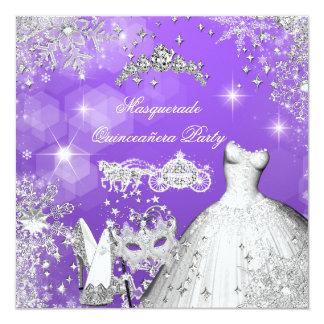Quinceanera Masquerade Magical Princess Carriage 2 5.25x5.25 Square Paper Invitation Card