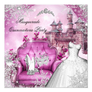 Quinceanera Masquerade Magical Princess Pink Card