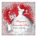 Quinceanera Masquerade Red White Snowflakes Custom Invitations