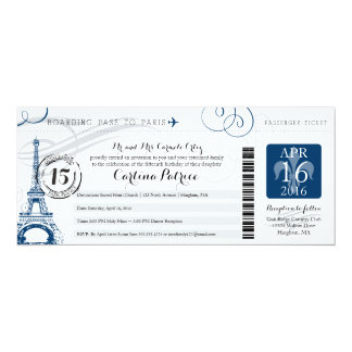 Quinceanera | Paris Boarding Pass 10 Cm X 24 Cm Invitation Card