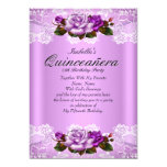 Quinceanera Party Lilac Purple Pink Roses Lace 13 Cm X 18 Cm Invitation Card