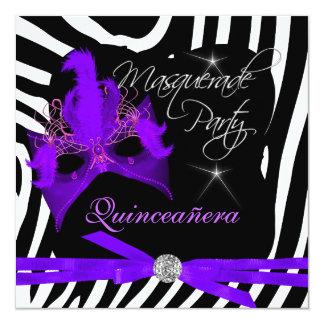 Quinceanera Party Masquerade Purple Zebra 13 Cm X 13 Cm Square Invitation Card