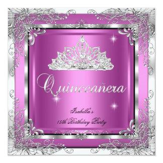 Quinceanera Party Pink Silver Diamond Tiara 13 Cm X 13 Cm Square Invitation Card