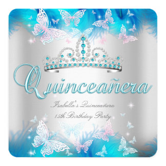 Quinceanera Party Pink Teal Blue Tiara Butterfly 13 Cm X 13 Cm Square Invitation Card