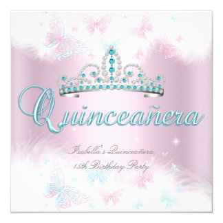 Quinceanera Party Pink Teal Tiara Butterfly 2 13 Cm X 13 Cm Square Invitation Card