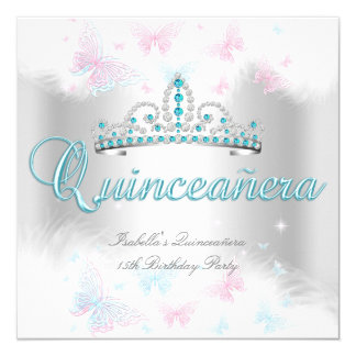 Quinceanera Party Pink Teal White Tiara Butterfly 13 Cm X 13 Cm Square Invitation Card
