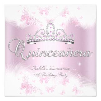 Quinceanera Party Pink White Tiara Butterfly 13 Cm X 13 Cm Square Invitation Card