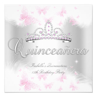 Quinceanera Party Pink White Tiara Butterfly 3 13 Cm X 13 Cm Square Invitation Card