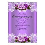Quinceanera Party Purple Pink Roses White Lace 13 Cm X 18 Cm Invitation Card
