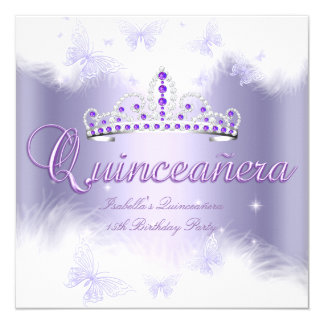 Quinceanera Party Purple Tiara Butterfly 13 Cm X 13 Cm Square Invitation Card