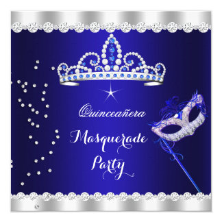 Quinceanera Party Royal Blue Tiara Masquerade 5.25x5.25 Square Paper Invitation Card