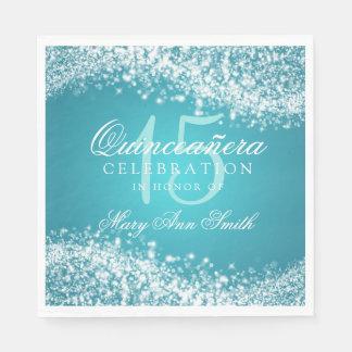 Quinceanera Party Sparkling Wave Turquoise Disposable Serviettes