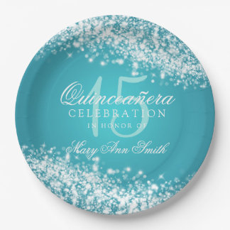Quinceanera Party Sparkling Wave Turquoise Paper Plate