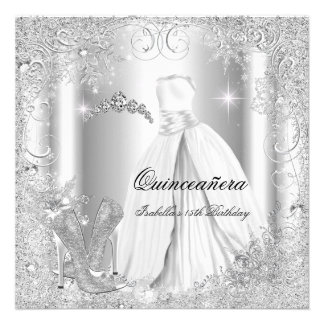 Quinceanera Party White Silver Winter Snowflakes Announcements