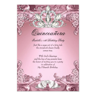 Quinceanera Pink 15th Birthday Party 13 Cm X 18 Cm Invitation Card