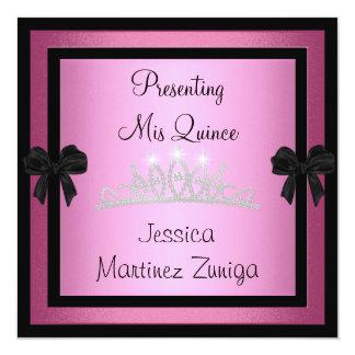 Quinceanera Pink Black Jewel Tiara Formal 1 13 Cm X 13 Cm Square Invitation Card