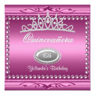Quinceanera Pink Jewel Tiara Pearl 15th Birthday 13 Cm X 13 Cm Square Invitation Card