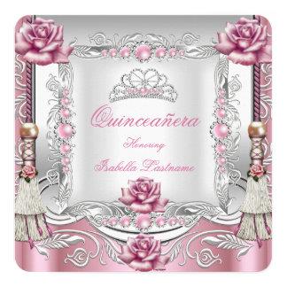QUINCEANERA Pink Roses Tassels Silver Tiara 13 Cm X 13 Cm Square Invitation Card
