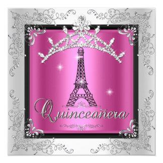 Quinceanera Pink Silver Tiara Eiffel Tower 13 Cm X 13 Cm Square Invitation Card