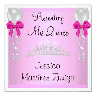 Quinceanera Pink White Silver Jewel Tiara Formal 13 Cm X 13 Cm Square Invitation Card