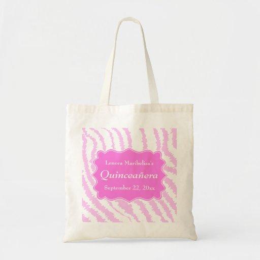 Quinceanera Pink Zebra Print Pattern Canvas Bags