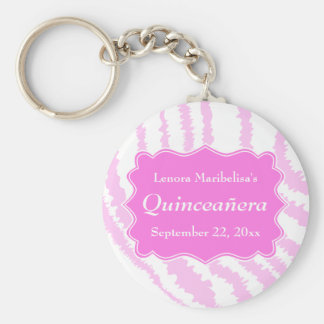 Quinceanera Pink Zebra Print Pattern Basic Round Button Key Ring