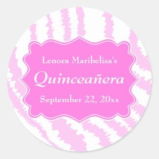 Quinceanera Pink Zebra Print Pattern Classic Round Sticker