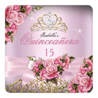 Quinceanera Pretty Pink Roses Tiara 15th Birthday 13 Cm X 13 Cm Square Invitation Card