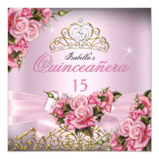 Quinceanera Pretty Pink Roses Tiara 15th Birthday Card
