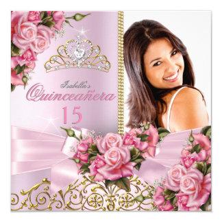 Quinceanera Pretty Pink Roses Tiara Photo Birthday 13 Cm X 13 Cm Square Invitation Card