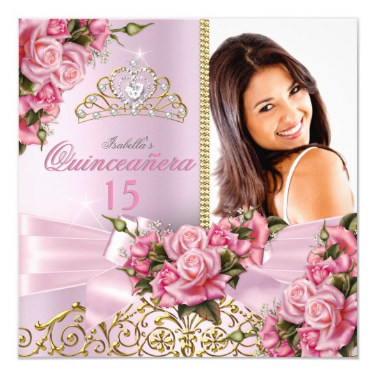Quinceanera Pretty Pink Roses Tiara Photo Birthday Card