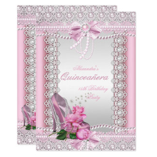 Quinceanera Pretty Pink White Rose High Heel Card