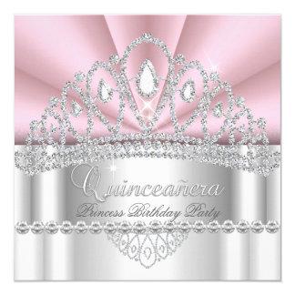 Quinceanera Princess Pink White Diamond Tiara 13 Cm X 13 Cm Square Invitation Card