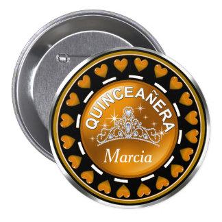 Quinceanera Princess Tiara Love Hearts | golden 7.5 Cm Round Badge