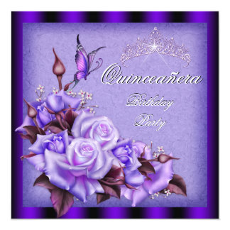 Quinceanera Purple Roses Butterfly Floral 13 Cm X 13 Cm Square Invitation Card