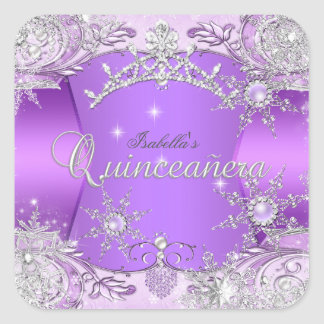 Quinceanera Purple Winter Wonderland Snowflakes Square Sticker