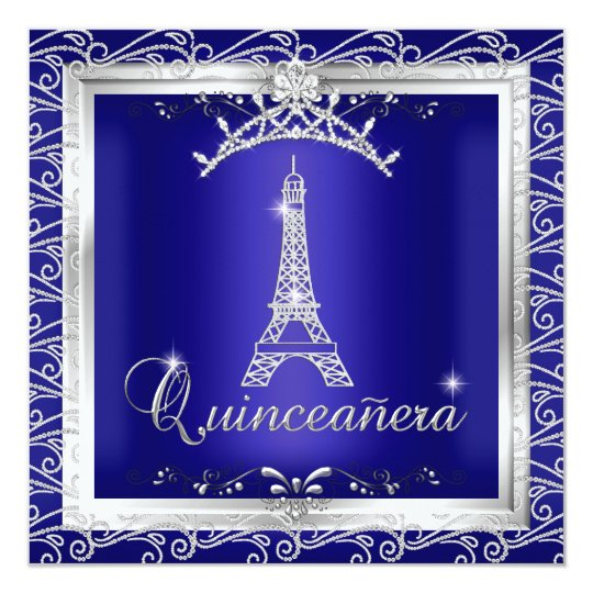 Quinceanera Royal Blue Silver Tiara Eiffel Tower 2 Card