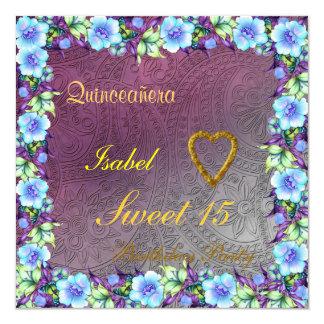 "Quinceanera Sweet 15 Birthday Invitation Pink 5.25"" Square Invitation Card"