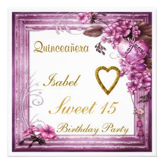 Quinceanera Sweet 15 Birthday Invitation Pink